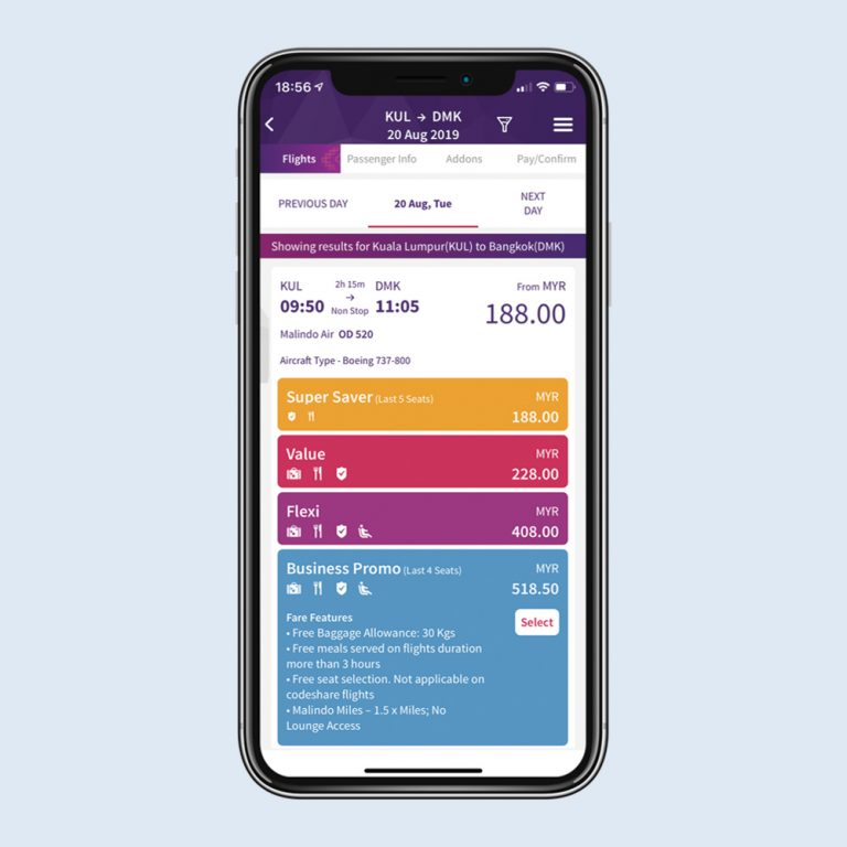 Malindo Air native mobile app, booking of fare families powered by CellPoint Digital Voyage platform